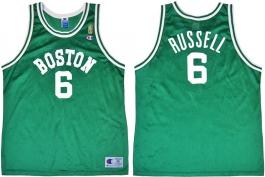 Bill Russell Boston Celtics NBA 50th Anniversary Gold Logo Champion Classic Jersey