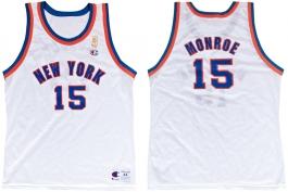 Earl Monroe New York Knicks NBA 50th Anniversary Gold Logo Champion Classic Jersey