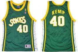Shawn Kemp Seattle Supersonics Sonics NBA 50th Anniversary Gold Logo Champion Retro Jersey