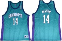 Anthony Mason Charlotte Hornets Blue Pinstripe