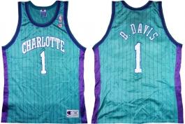 Baron Davis Charlotte Hornets Blue Pinstripe