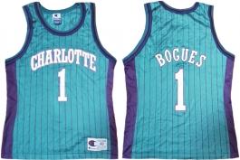 Muggsy Bogues Charlotte Hornets Blue Pinstripe