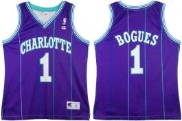 Muggsy Bogues Charlotte Hornets Purple Pinstripe European