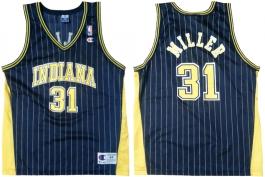 Reggie Miller Indiana Pacers Blue Pinstripe Vneck