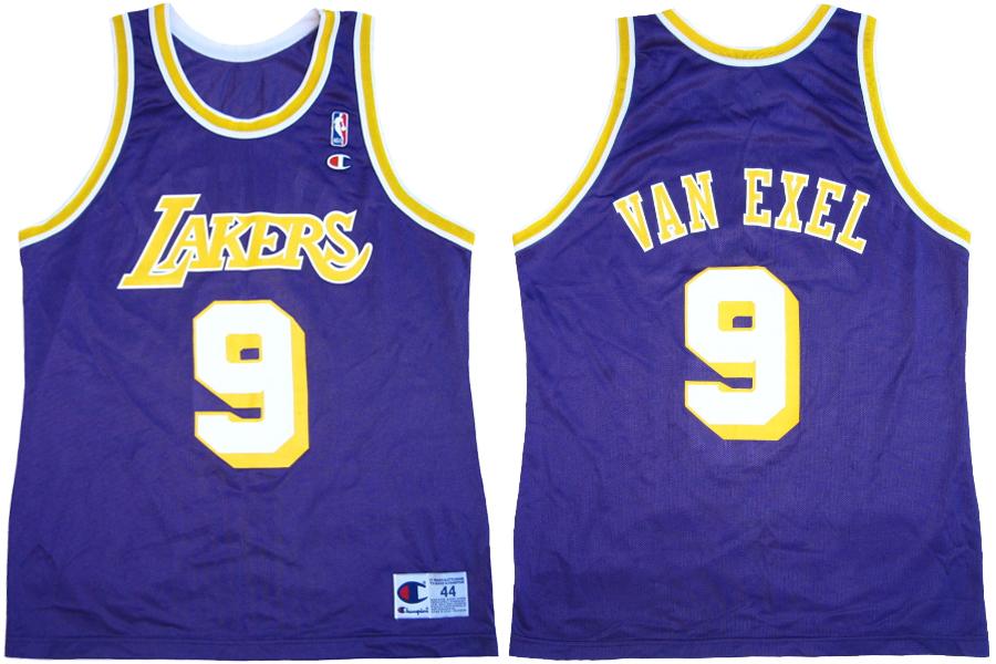 ... 9 LOS ANGELES LAKERS Champion Jersey Sz 48 Nick Van Exel LA Lakers  Purple ... aacc423b1