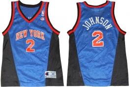 Larry Johnson New York Knicks Blue Vneck