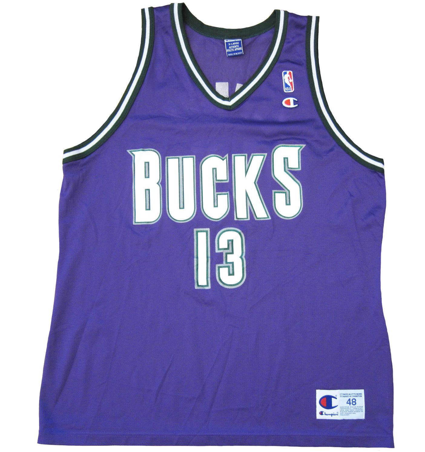 cb79a6a46 ... Glenn Robinson Bucks Purple Vneck front ... Image of Milwaukee Bucks  Glenn Robinson Champion Jersey ...