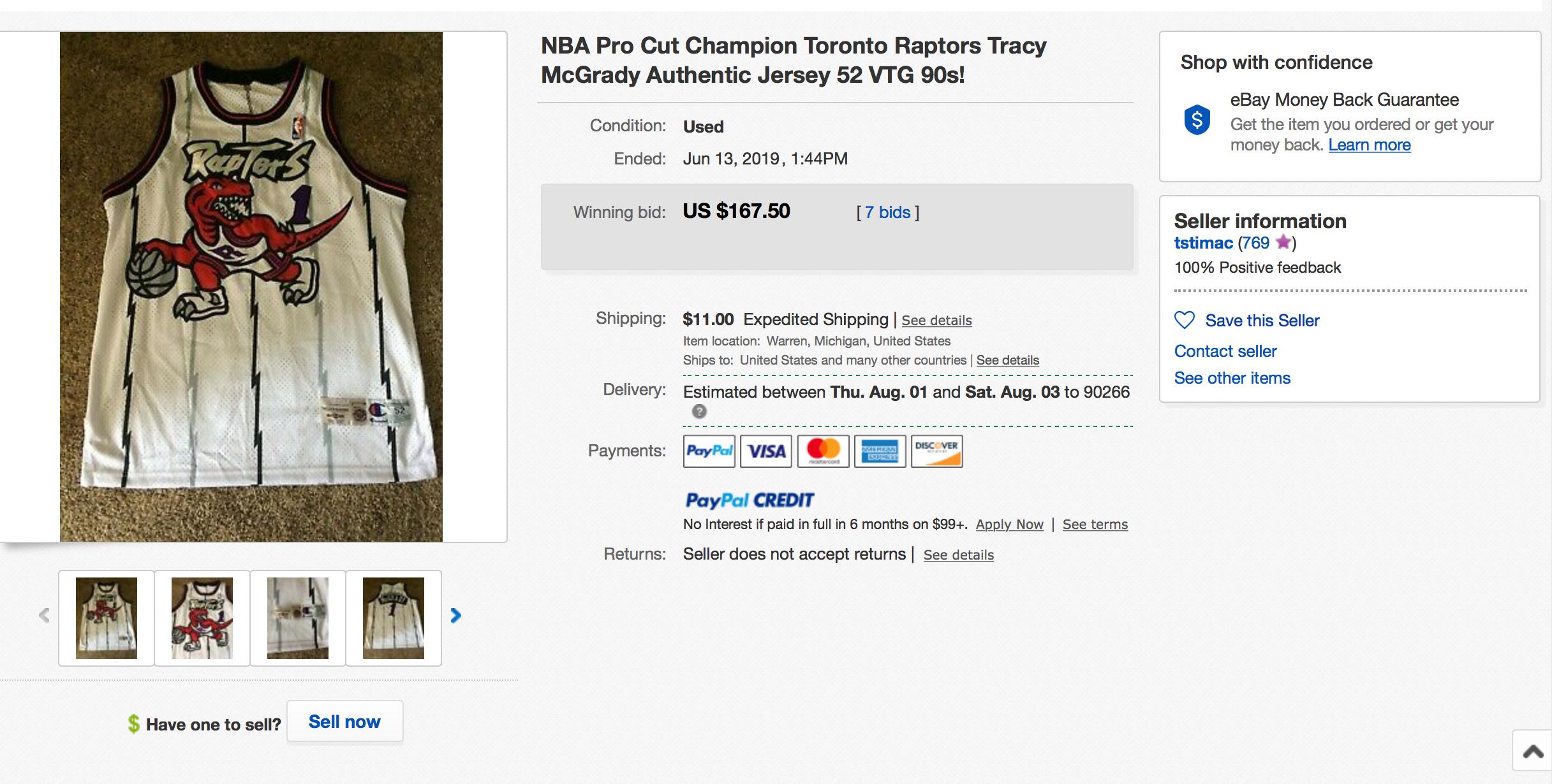 Tracy McGrady Toronto Raptors Champion Pro Cut Home Jersey Fake 3
